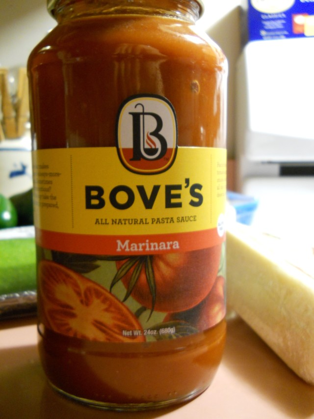 Bove's is a Vermont spaghetti sauce and is the only jarred sauce I buy. Their roasted garlic is what I usually get, but decided to go with their basic marinara for this dish.