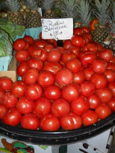 I thought this display of beefsteak tomatoes was gorgeous!
