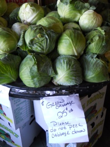 Look at the price--and size!--of the cabbages!