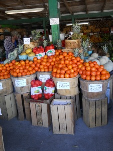 A colorful display of oranges.