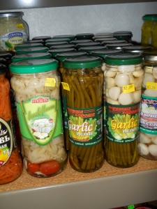 I loved the jars of garlic shoots.
