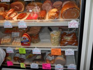 The meat case.