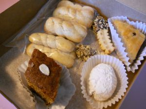 This year's Greek pastries, baklava, ouzo cake, and various cookies.