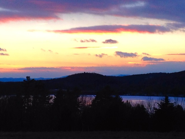New Year's Eve, 2014. Looking west to the Adirondack Mountains.