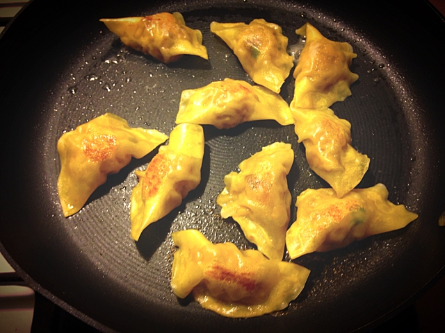 Frying and steaming the dumplings are a perfect way to cook these. Place on a serving dish in a warm oven until you're ready to eat!